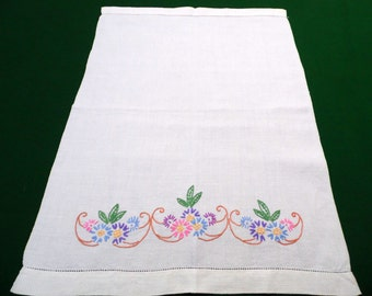 Vintage off white handwoven cotton hand embroidered Towel with Flower hanging dish towel Kitchen Dishtowel embroidery dishcloth 60s