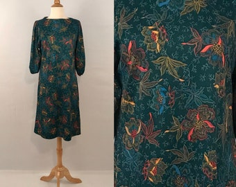 60s Floral Silky Asian Dress