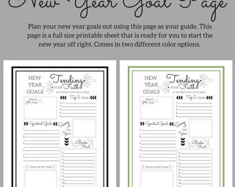New Year Goal Page - 8.5 x 11 Full size