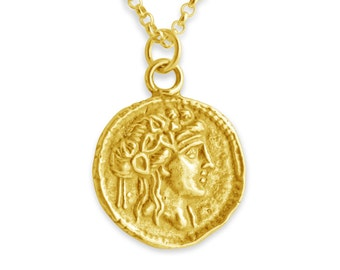 Athena Greek Goddess of Wisdom and War Replica Ancient Coin Charm Pendant Necklace #14K Gold Plated over 925 Sterling Silver #Azaggi N0148G