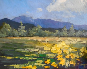Landscape Oil Painting, Wildflower Painting, 9x12 Original, Canvas Panel, Free Shipping