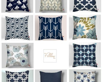 Blue Pillow Cover, Grey , New, Navy, Throw Pillows, Scott Living Fabrics,Decorative Throw Pillow Covers, Sizes 18x18 16 20 Euro Shams