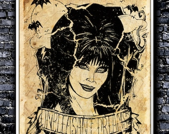 Vintage Unpleasant Dreams - A4 Signed Art Print (Inspired by Elvira)