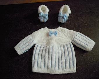 bra and newborn hand knitted booties