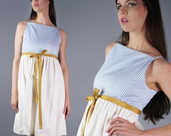 60s Joanna Nelson Dress 1960s Beach Wear California Designer Dress Pinstripe Periwinkle and White Dress