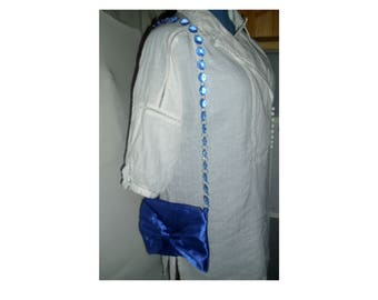 handbag, evening, ceremony, blue satin beads