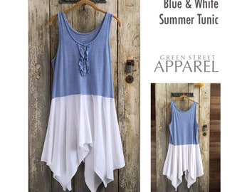 Summer T-shirt tank tunic| Large tunic | refashioned clothing | blue and white top |