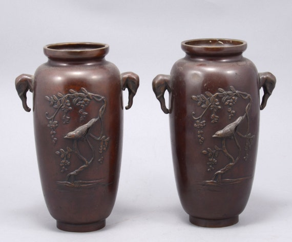 Arte giapponese coppia di antichi vasi di bronzo giapponese for Vasi giapponesi