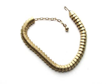 vintage textured brushed gold collar necklace . articulated reptile skin, fish scale chain link necklace, mid century jewelry