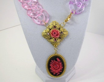 Vintage Inspired Pink Rose Cameo Necklace With Gold Filigree and Lucite Chain Link