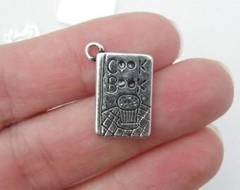6 Cookbook charms antique silver tone FD108