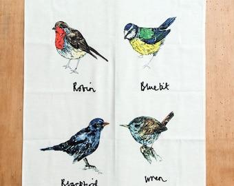 A Selection of Garden Birds Tea Towel
