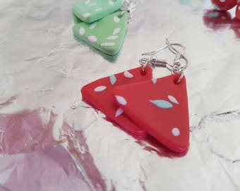 Earrings red and green triangle