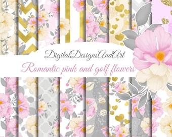 Floral digital paper pack, Romantic flowers paper, Scrapbook paper, Seamless patterns, Watercolor flowers, spring papers, digital background