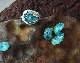 Custom Sized Apatite Crystal Engagement or Stacking Solitaire Ring in Sterling Silver - Organic Freeform Metalwork