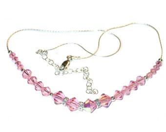 LIGHT ROSE PINK Crystal Necklace Sterling Silver Swarovski Elements