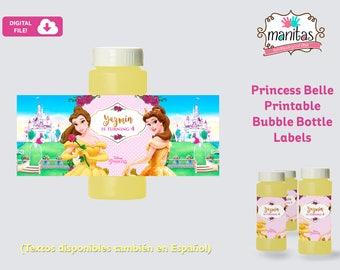 Princess Belle Printable Bubble Bottle Label, Personalized Bubble Bottle Label, Princess Belle Party, Princess Belle Favors, Princess Belle