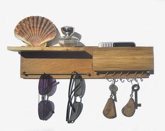 key rack, sunglasses holder with mailbox and shelf, entryway organizer