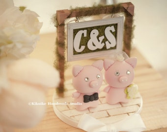 Pig and Piggy Wedding Cake Topper-