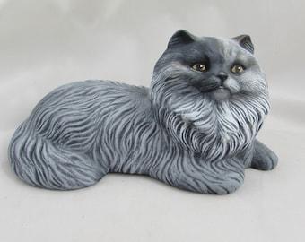 Ceramic Persian Cat (Customize Option),  10.5 inches long, handmade, ceramic bisque