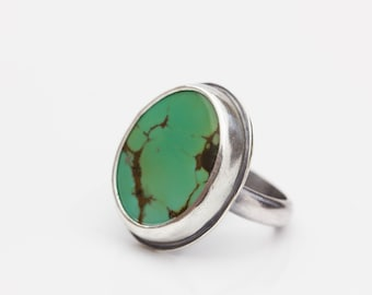 Turquoise Ring, Sterling Ring, Artisan Ring, Green Turquoise Ring, Turquoise Statement Ring, Unisex Ring, Le Chien Noir, Size 8