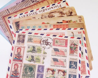 10 sheets Old Vintage Look Aged Stamp Label Stickers. Collage Mixed Media Ephemera, decorations, scrapbooking, Planner stickers, Snail Mail