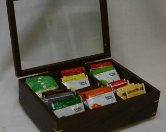 Tea Box with a glass top and 6 divided sections - Walnut #431