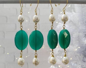 Christmas Ornaments; Green Glass and Acrylic Pearls, set of 4
