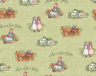 Anne of Green Gables Main Green - Riley Blake Designs - Penny Rose Fabrics - Quilting Cotton Fabric - choose your cut
