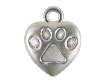 BULK 50 Small Silver Heart Paw Print Charm Dog Pendant 16x13mm by TIJC SP0896B