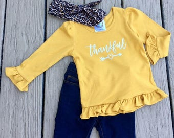 Girls Thankful Shirt