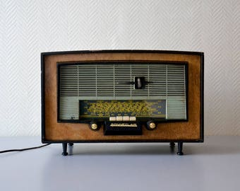 Mid Century Vintage Sonneclair PARIS Tube Radio / french radio station 50s