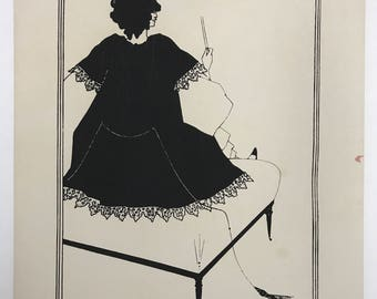 """Vintage Silk Screen Poster - Salome on Settle (d.1960) from original designs by Aubrey Beardsley for """"Salome"""" by Oscar Wilde"""