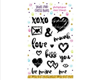 Brush Hearts Stamps Set - Clear Rubber Stamp Set - Heart Stamp - Wedding Valentines Stamp - Love Kiss Be Mine Stamps - You and Me