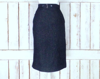 Vintage black wool fitted pencil skirt/long high waisted black wool skirt