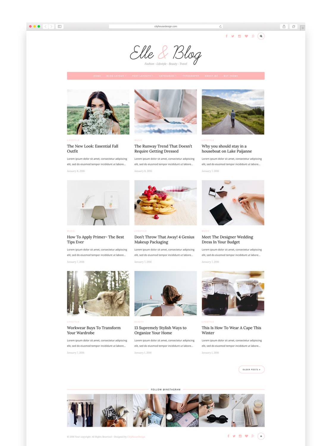 Elle & Blog Wordpress Theme Wordpress Vorlage-Feminine Vorlage