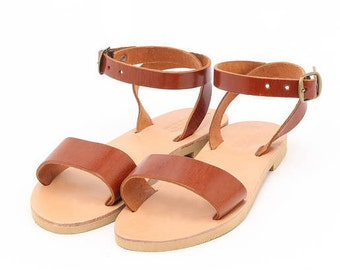 Greek handmade women's sandals, ankle strap flats with buckle