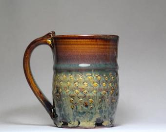 handmade 12oz stoneware pottery mug, pottery coffee cup