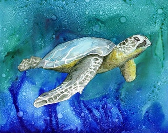 Trivet- Art Tile- Dye Sublimation Imprint of Alcohol Ink painting on a Ceramic 6x6 Tile - Alcohol Inks- Sea Turtle