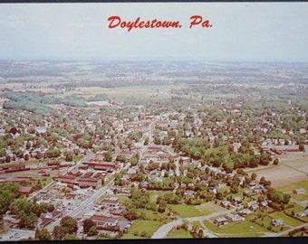 Doylestown, PA Aerial View, Vintage Postcard, 1960s, Bucks County