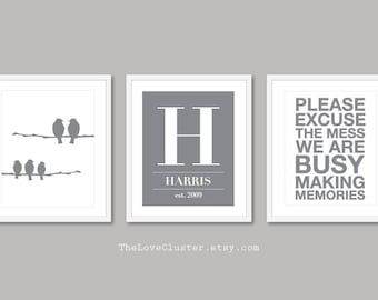 Custom Family Prints - Family Name and Dates Print - House Sign Print - Personalized Family Wall Art - Set of 3 Prints - Frames not included