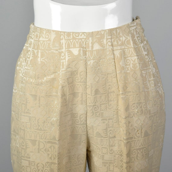 50s Small Cropped 1950s Summer Separates Pants Brocade Vintage Spring Midcentury Pants Ivory Cigarette Slim 4xqUA4wZ