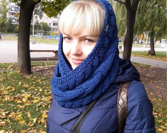 Free shipping - Blue scarf-cowl, blue round scarf, blue snood, blue scarf, merino wool and acrylic cowl, many shades