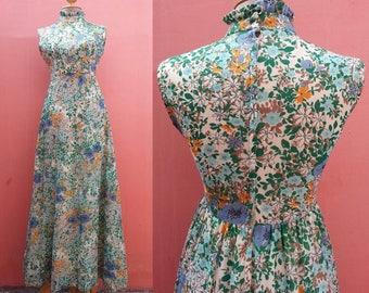 Floral Dress 1970s Vintage Dress High Collar Dress Hippie Dress 70s Dress Women Boho Dress Retro Dress Flower Print Maxi Dress Sleeveless XS