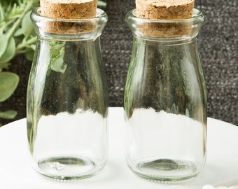 Glass Bottle with Cork Favor Containers (Pack of 10) Rustic Country Wedding