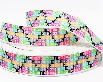 "7/8"" inch CHEER Cheerleader Cheerleading Sports Printed Grosgrain Ribbon for Hair Bow - Original Design"