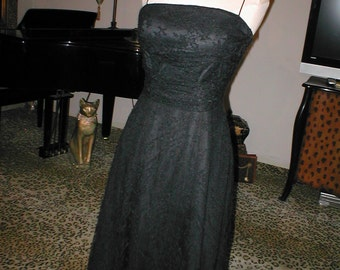 Vintage 1950's Black Lace Dress