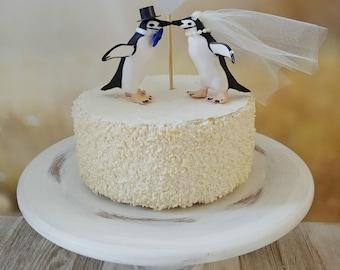 penguin wedding cake topper zoo themed bride groom animal kissing penguin lover Pittsburgh penguins chinstrap penguin mascot college lover
