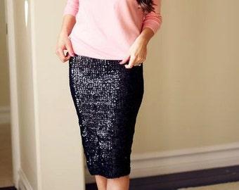 Sequin MIDI  skirt, pencil skirt, bridesmaid sequin skirt