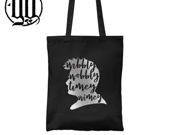 Wibbly Wobbly Timey Wimey Tote Bag - Silver on Black